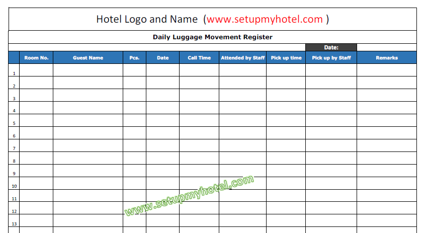 Daily Lugggage Movement Register - Bell desk | Hotels | B&B | Resorts