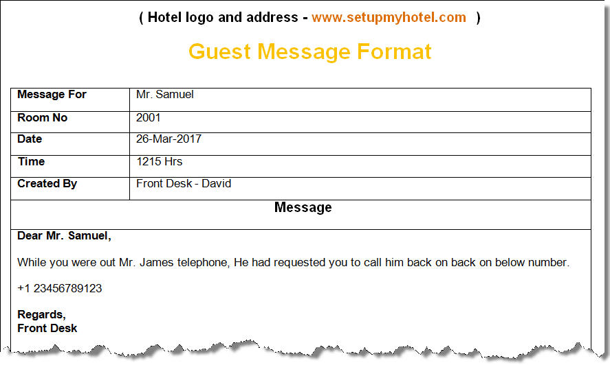 Bell Desk Guest Message Format