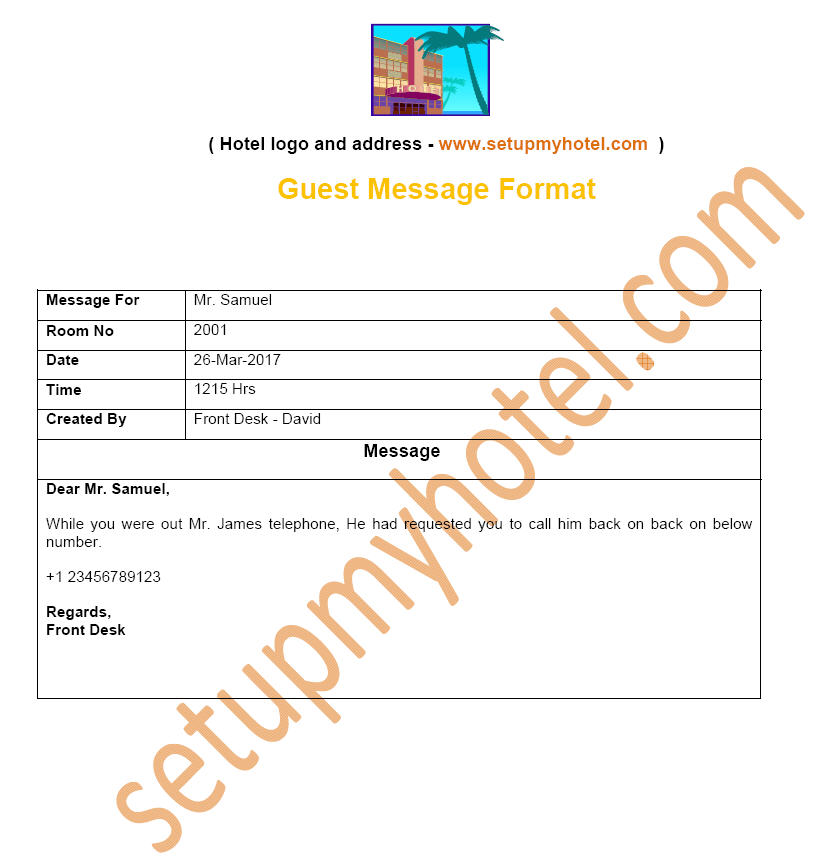Guest Message Sample | Telephone Message Sample for Operators | Messages for Guest | Front desk Message