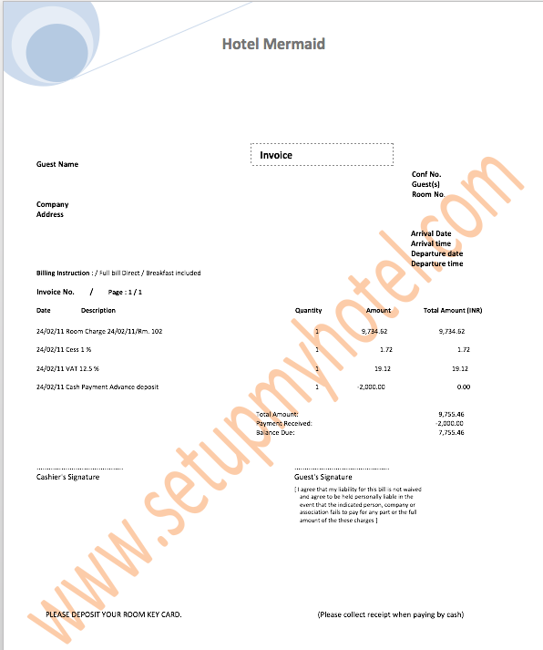 Hotel Invoice Sample Guest Bill Guest Folio Template Hotels - Sample invoice template for services rendered supreme online store