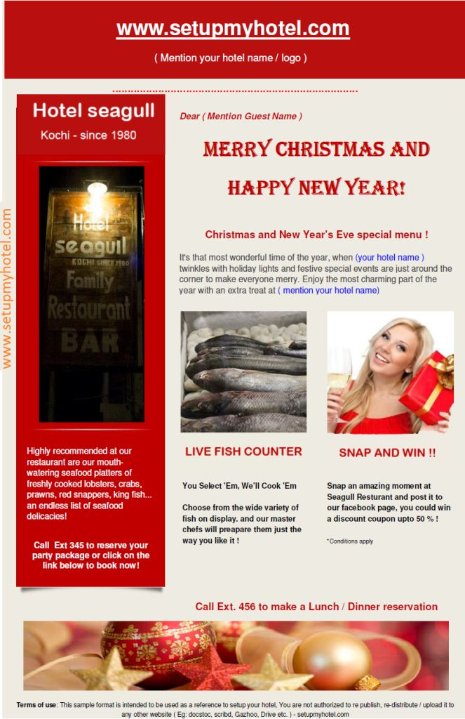 Hotel Guest Christmas Whishes | Resturant Guest New Year Greetings