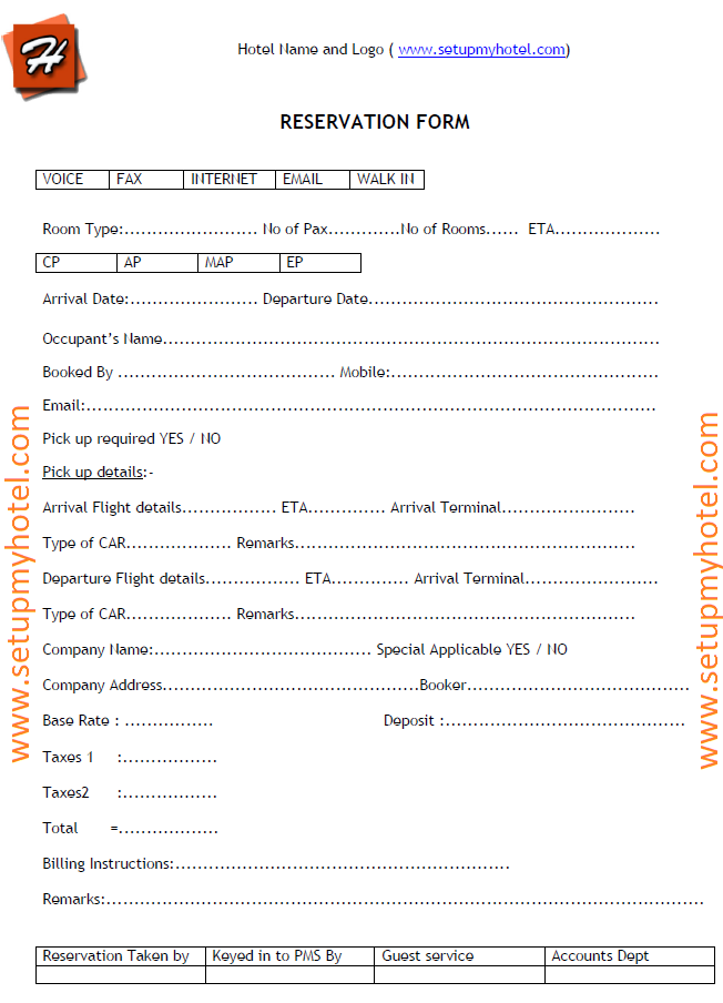 Hotel Reservation Enquiry Form Sample