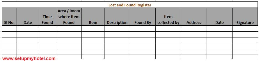 Lost and found register housekeeping