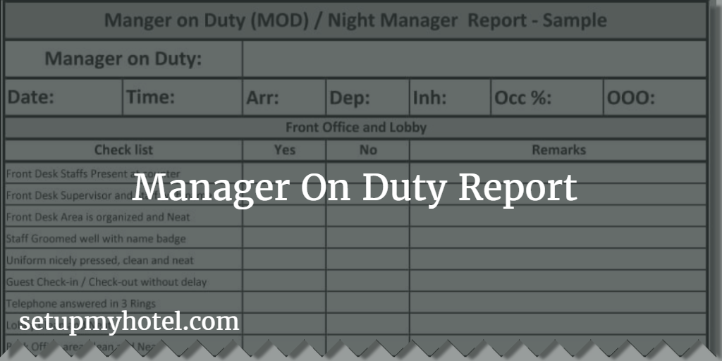 Manager on duty mod report night manager checklist manager on duty report mod report sample altavistaventures Images