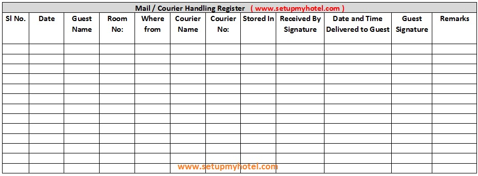 duty log template - front desk courier mail register format