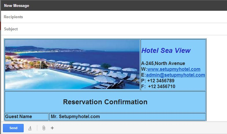 Reservation  Booking Confirmation Template Html