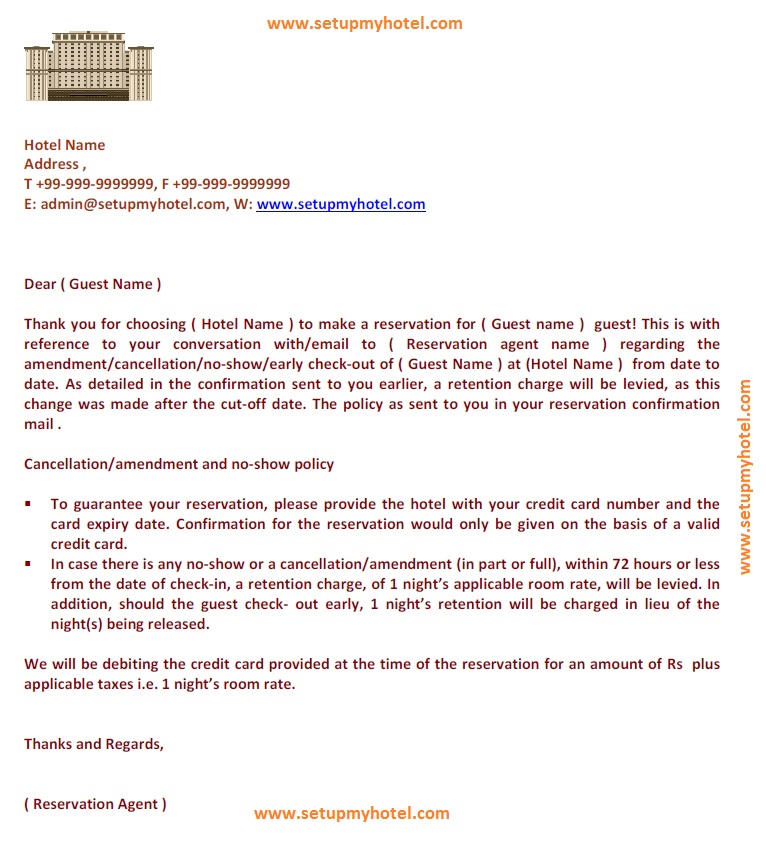 Reservation Retention Letter Cancellation Letter Format