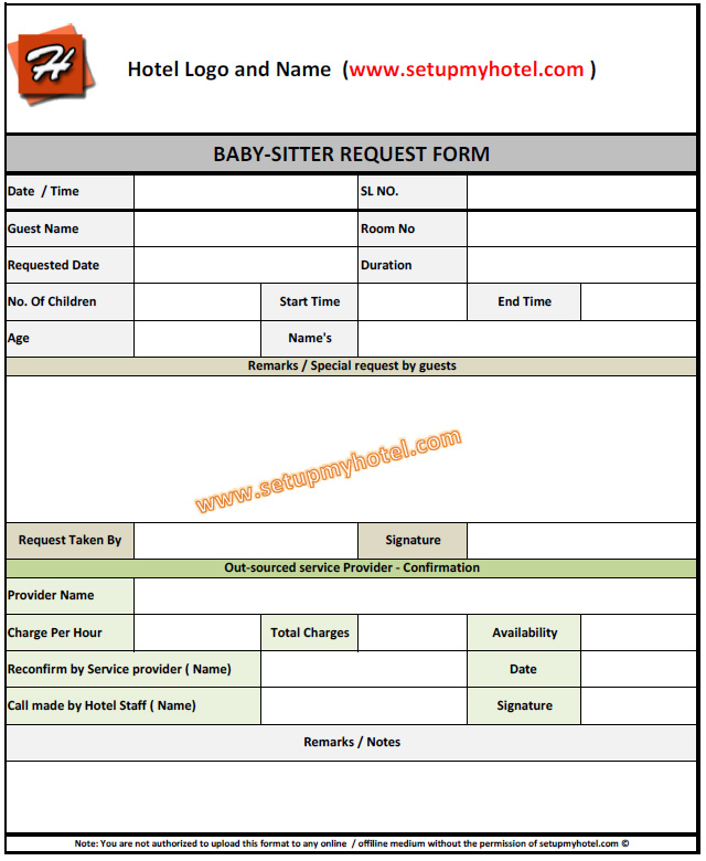 Babysitting Request Form For Hotels | Resorts
