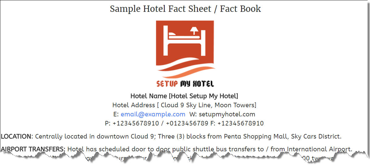 Hotel Fact Sheet Sample  Sample Hotel Information Sheet  Fact Book