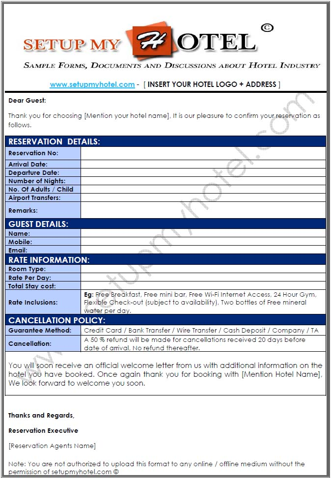 Reservation confirmation letter for hotel bookings for Booking hotels